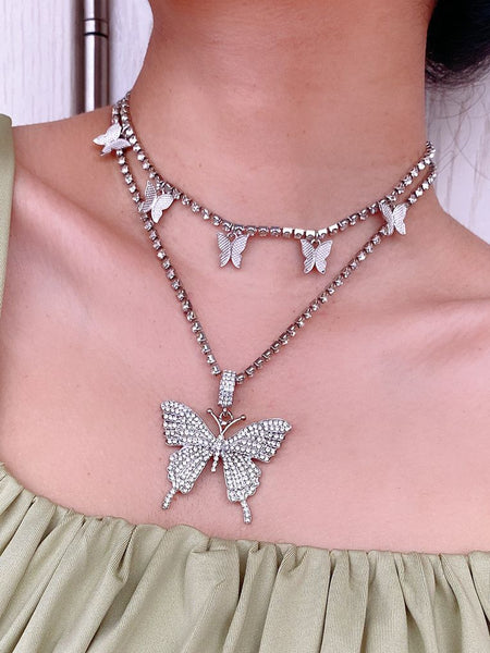 Butterfly Tennis Necklace Pendant Choker