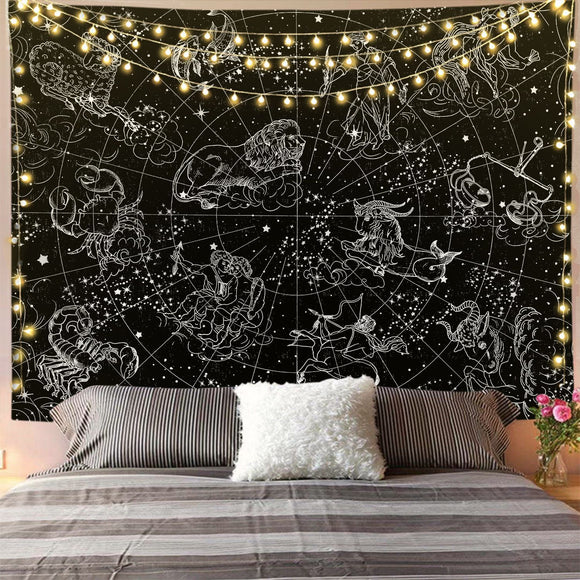 Constellation Black and White Tapestry