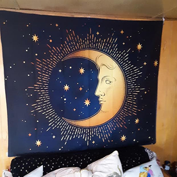 Crescent Moon And Stars Tapestry