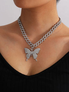 Cuban Big butterfly Tennis Necklace Silver