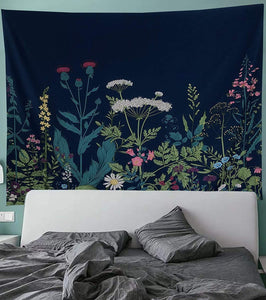 Dark Blue Floral Tapestry