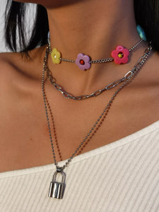 Flower Lock Layered Necklaces Pendant Choker Silver