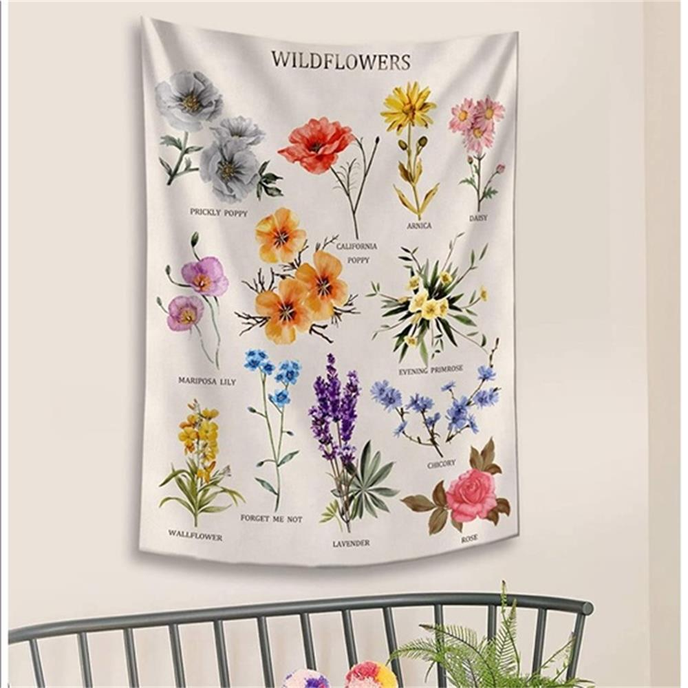 Wildflowers Species Floral Wall Tapestry