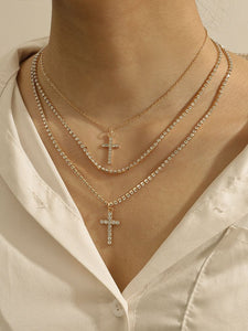 Gold Cross Layered Necklace Pendant Choker