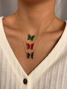 Green Red Black Layered Butterfly Necklaces