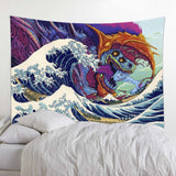 Japanese Wave Demon Wall Tapestry
