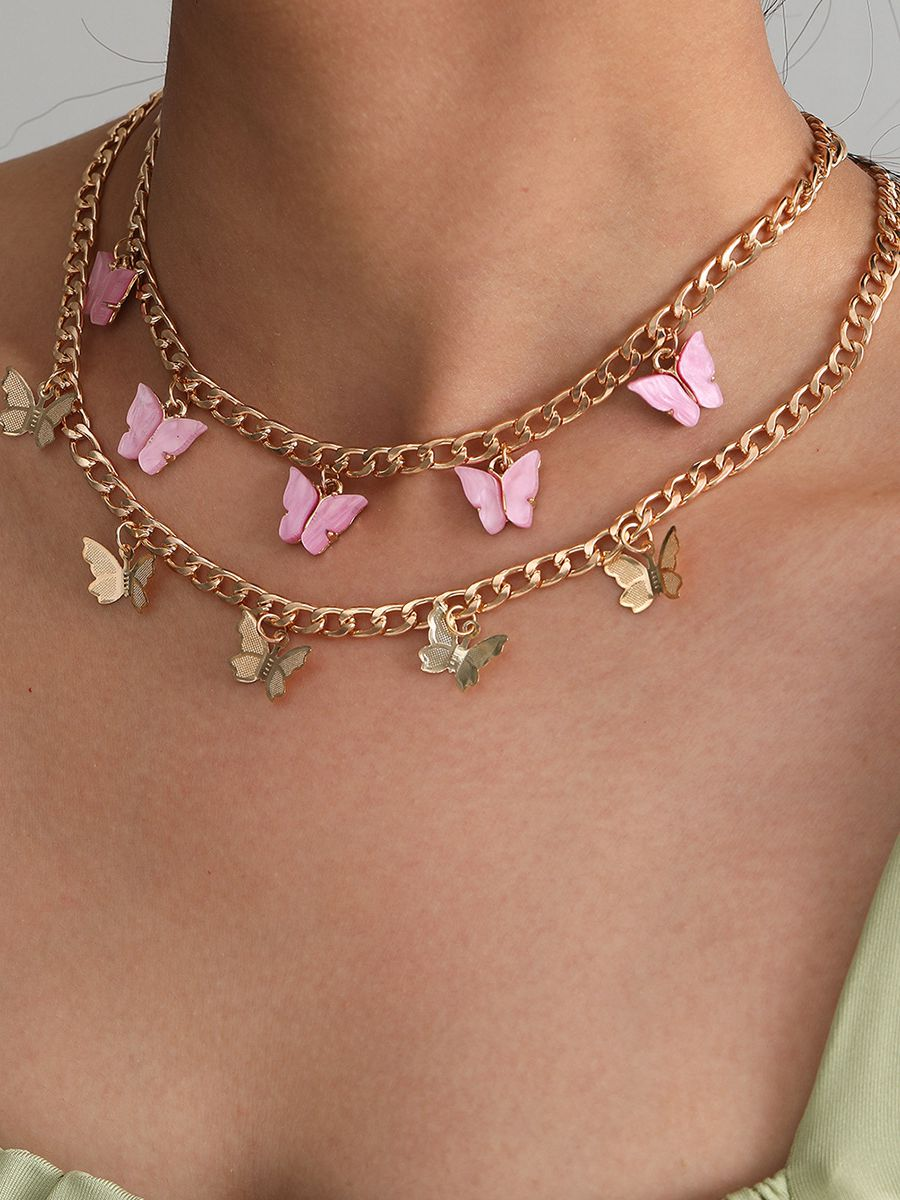 Layered Butterfly Choker Necklaces