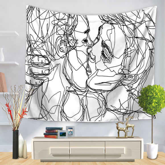 Line Art Kissing Wall Tapestry