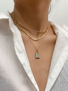 Chain With Lock Layered Necklaces Pendant Choker