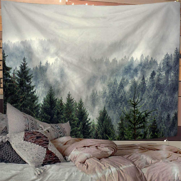 Mist Forest Landscape Wall Tapestry