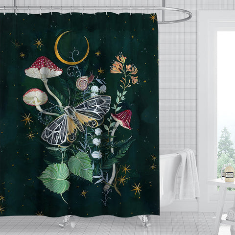 mushroom-floral-moth-shower-curtain