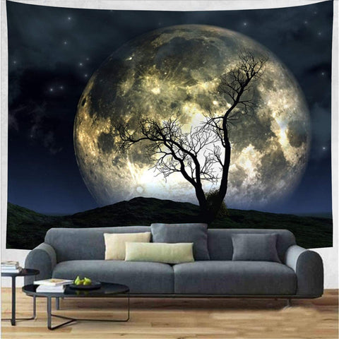 Night Lonely Moon Tree Tapestry