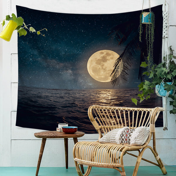 Night Ocean Luna Wall Tapestry