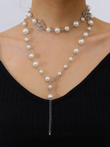 Pearl Layered Necklaces Pendant Choker