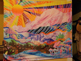 Psychedelic Sunshine Mountain Mushroom Tapestry