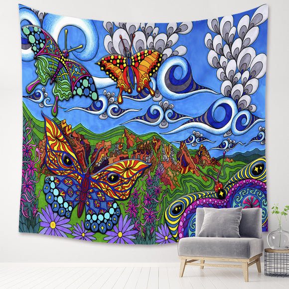 Psychedelic Trippy Butterfly Wall Tapestry