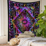 Purple Psychedelic Mandala Sun Wall Tapestry