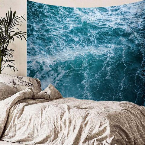 Sea Waves During A Storm Tapestry