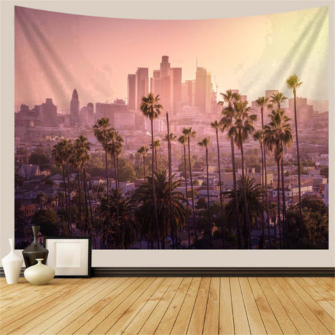 LA City Palm Trees Tapestry
