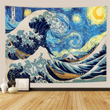 Starry Night Great Wave Ukiyo-e Wall Tapestry