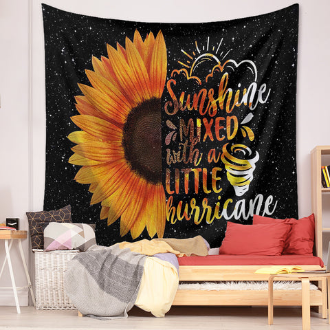 sunflower-quote-tapestry-sunshine-mixed-with-a-little-hurricane