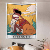 the-strength-tarot-tapestry-girl-and-lion