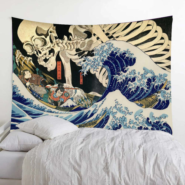 Ukiyo-e Skull Great Wave Wall Tapestry