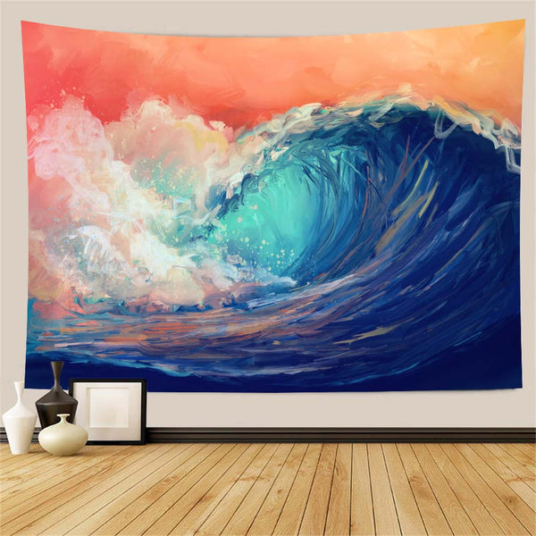 Wave Oil Painting Wall Tapestry