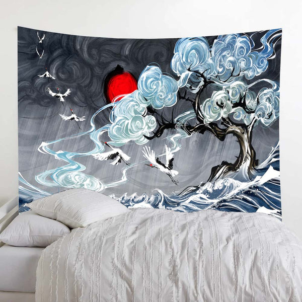Wave White Crane Japan Wall Tapestry