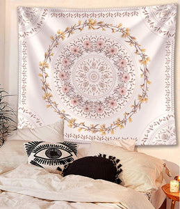White Floral Medallion Tapestry