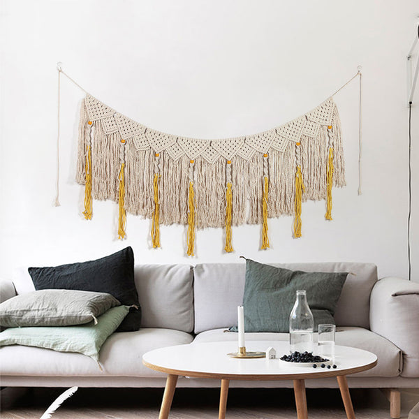 Yellow and Beige Woven Tapestry