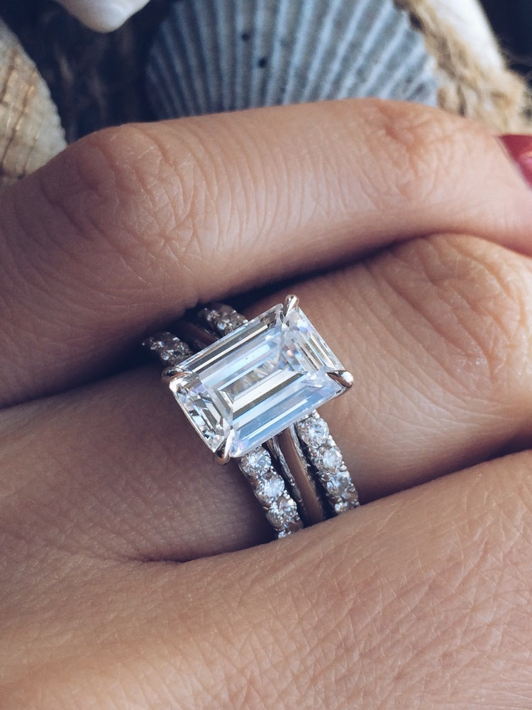 Nice ... Solitaire Emerald Cut Diamond Engagement Ring