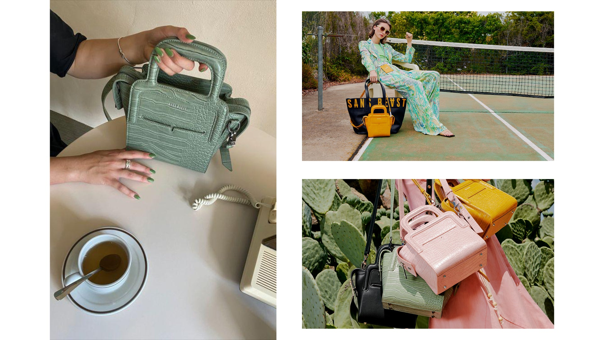 Collage of Campaign Imagery showing the Long Lunch tote bag in sage, mustard + ballerina.