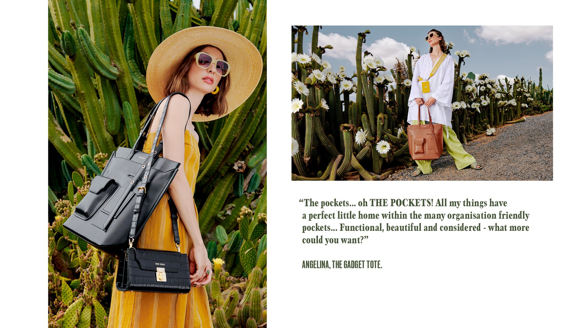 """Two images, side by side, of Juliette holding a Noir + Ginger Gadget Tote. Type is a review of the product: """"The pockets... oh THE POCKETS! All my things have  a perfect little home within the many organisation friendly  pockets... Functional, beautiful and considered - what more  could you want?""""  Angelina, The Gadget Tote."""