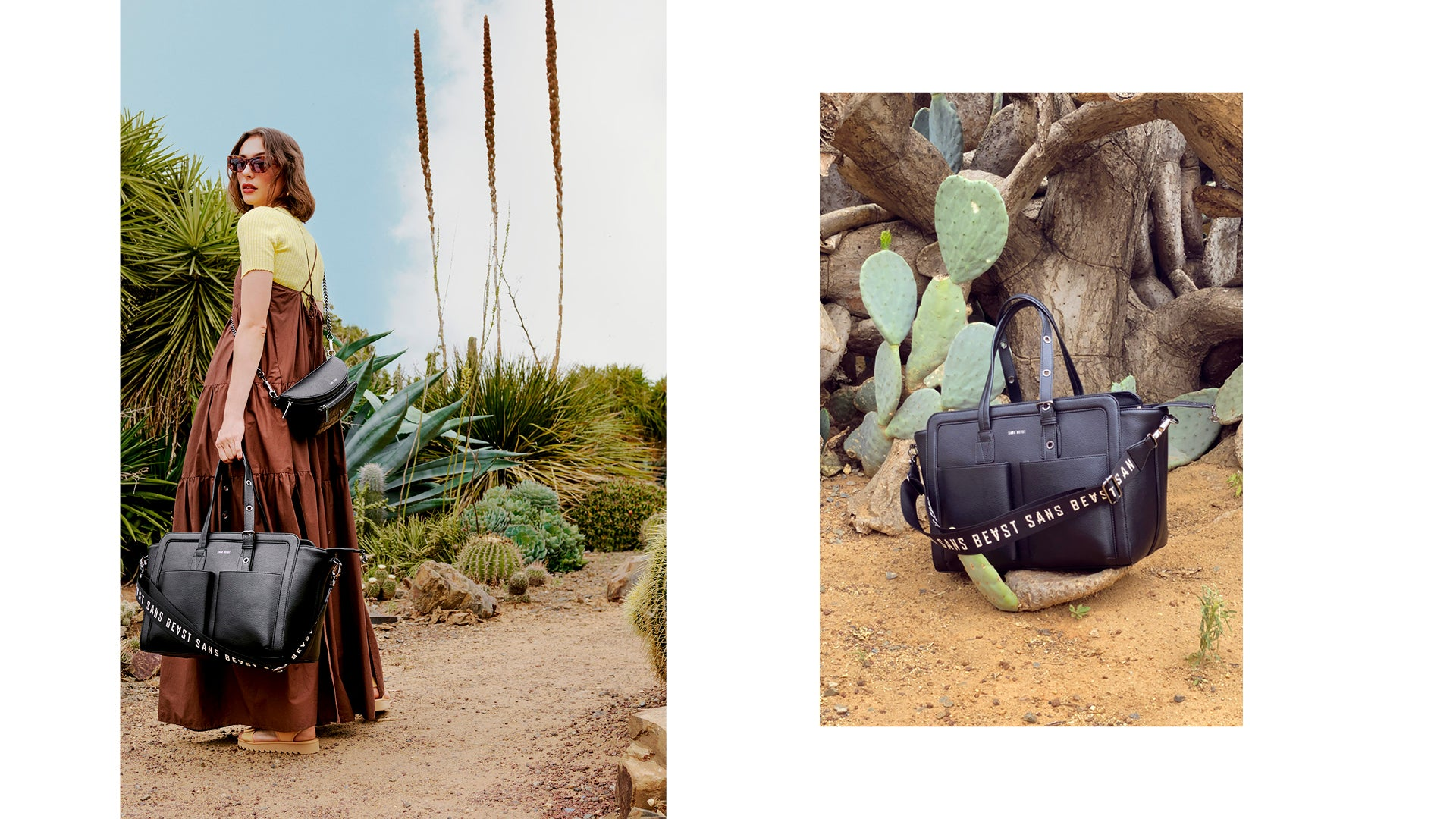 Two images side by side: Juliette holding the Daytripper in Noir + a still life of the Daytripper at Cactus Country.