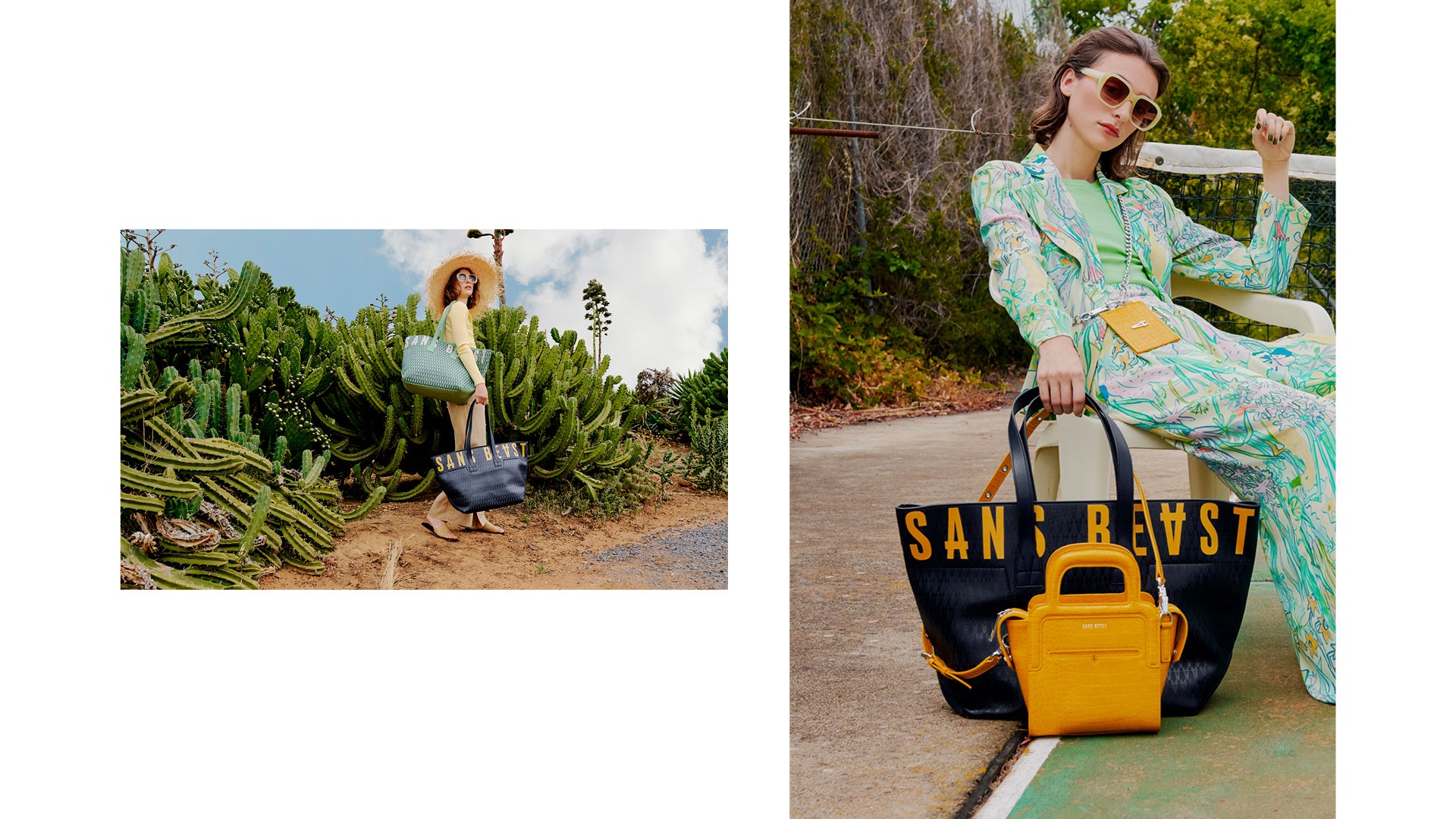 Two images, side by side, of Juliette with Activist Totes in Midnight + Spearmint.