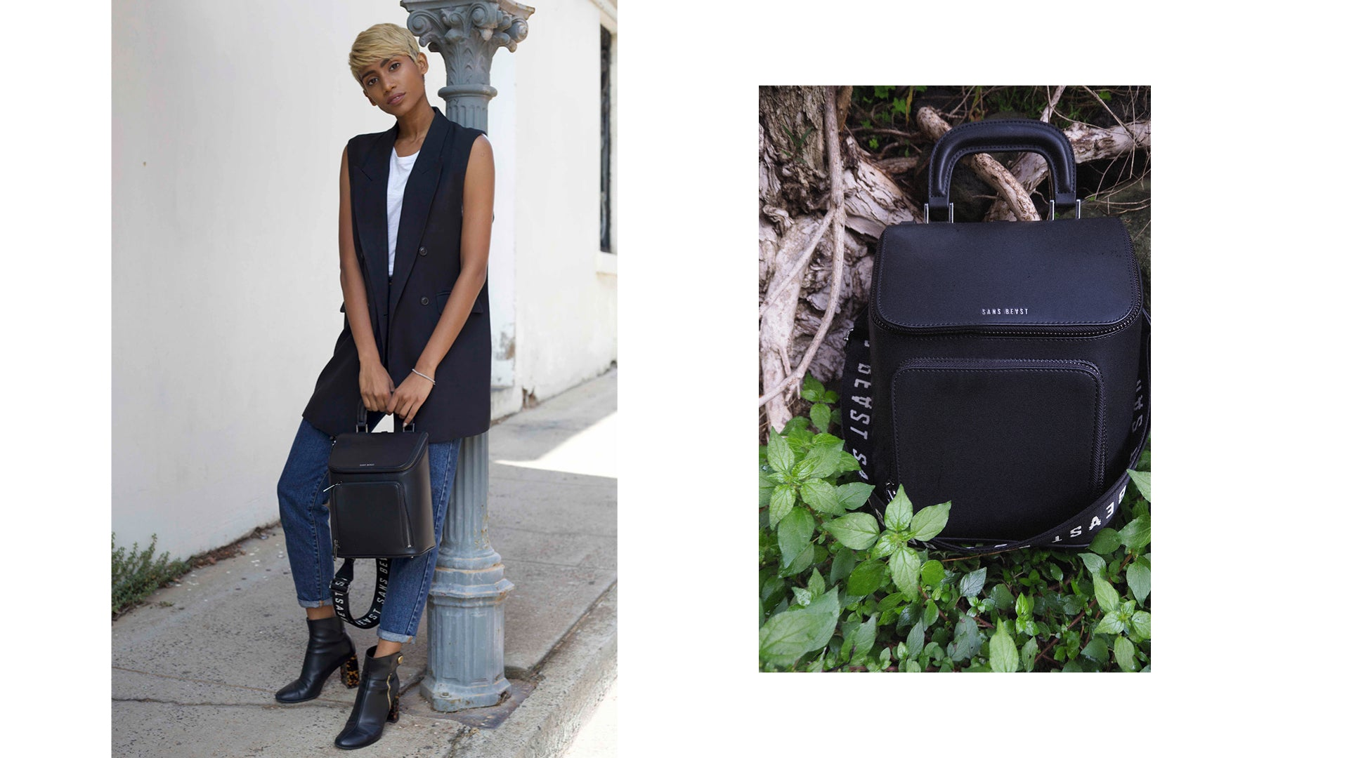 Two images, side by side: Shamita holding a Brief Liaison Tote + a still life image of the tote sitting in fresh greenery.
