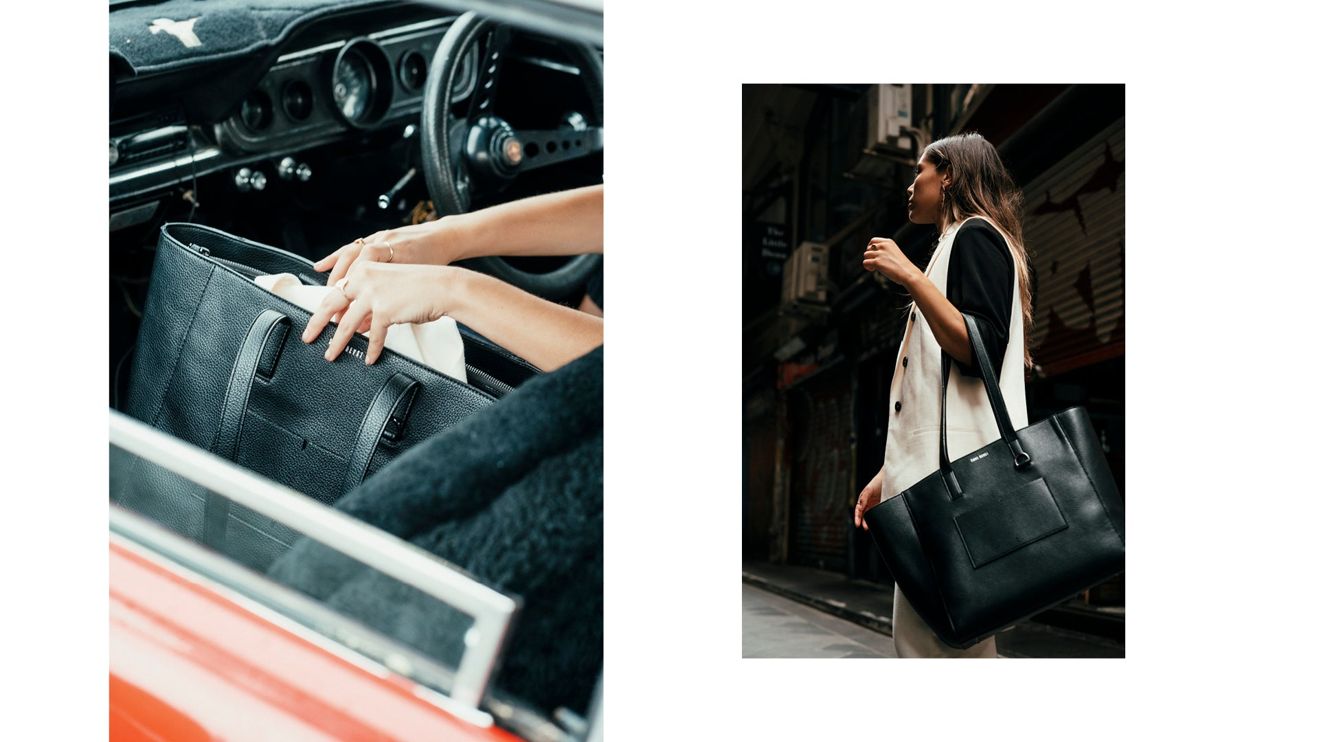 Two images side by side, of Neri out + about in Melbourne CBD with The Archive Tote.