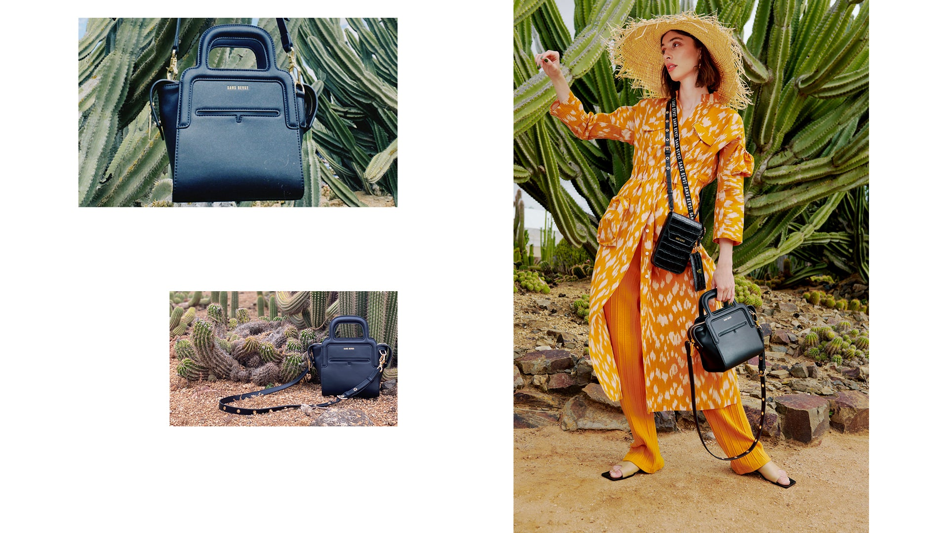 Composition of imagery showing our vegan handbags made from recycled Eco PU.