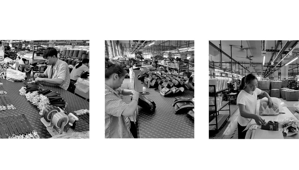 Three black + white images of women and men constructing Sans Beast vegan bags in the factory.