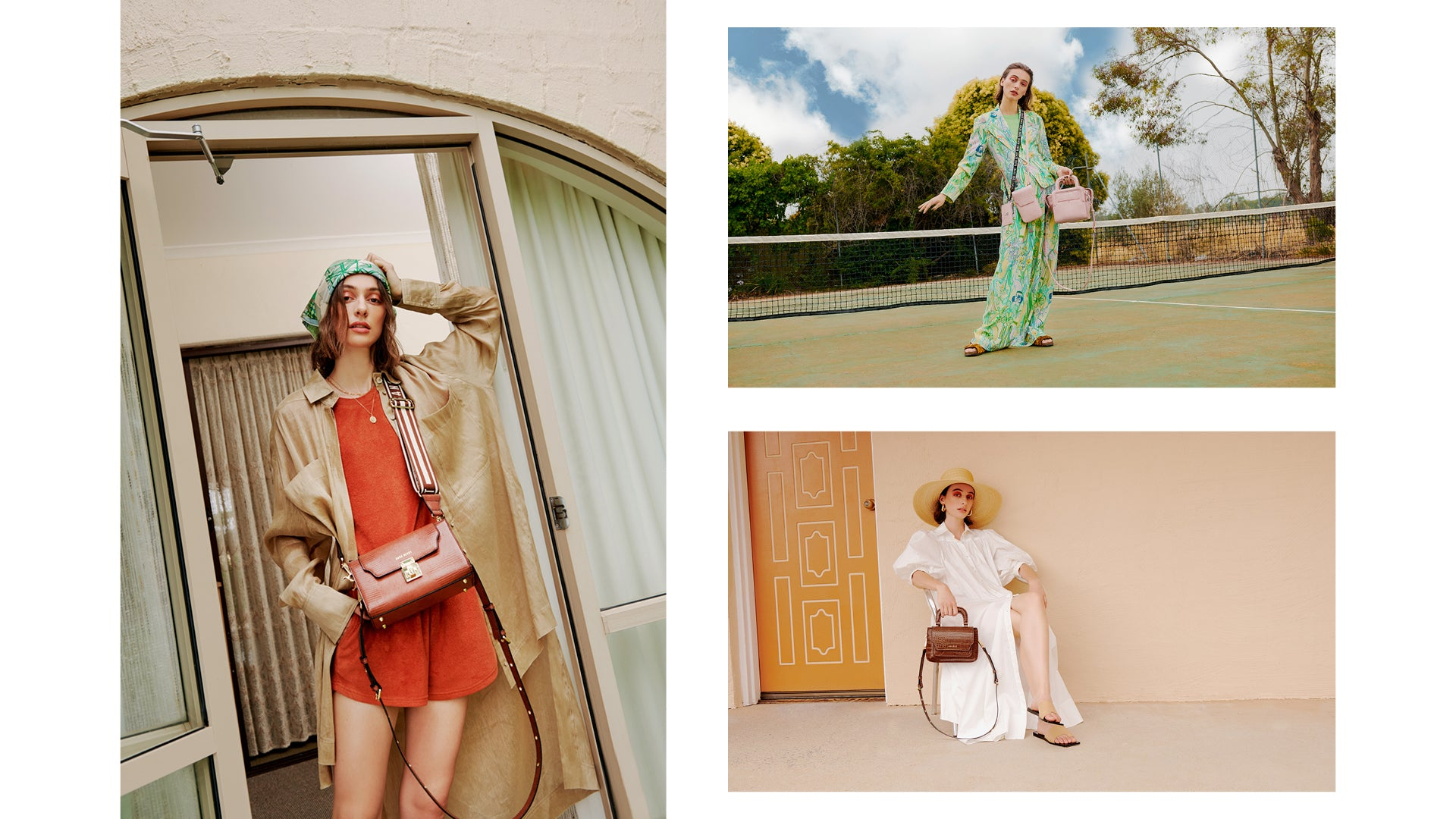 Collage of imagery from Series 7, The Lobby Cross Body in Chestnut Lizard, Call Me Phone Sling + The Long Lunch Tote in Ballerina.