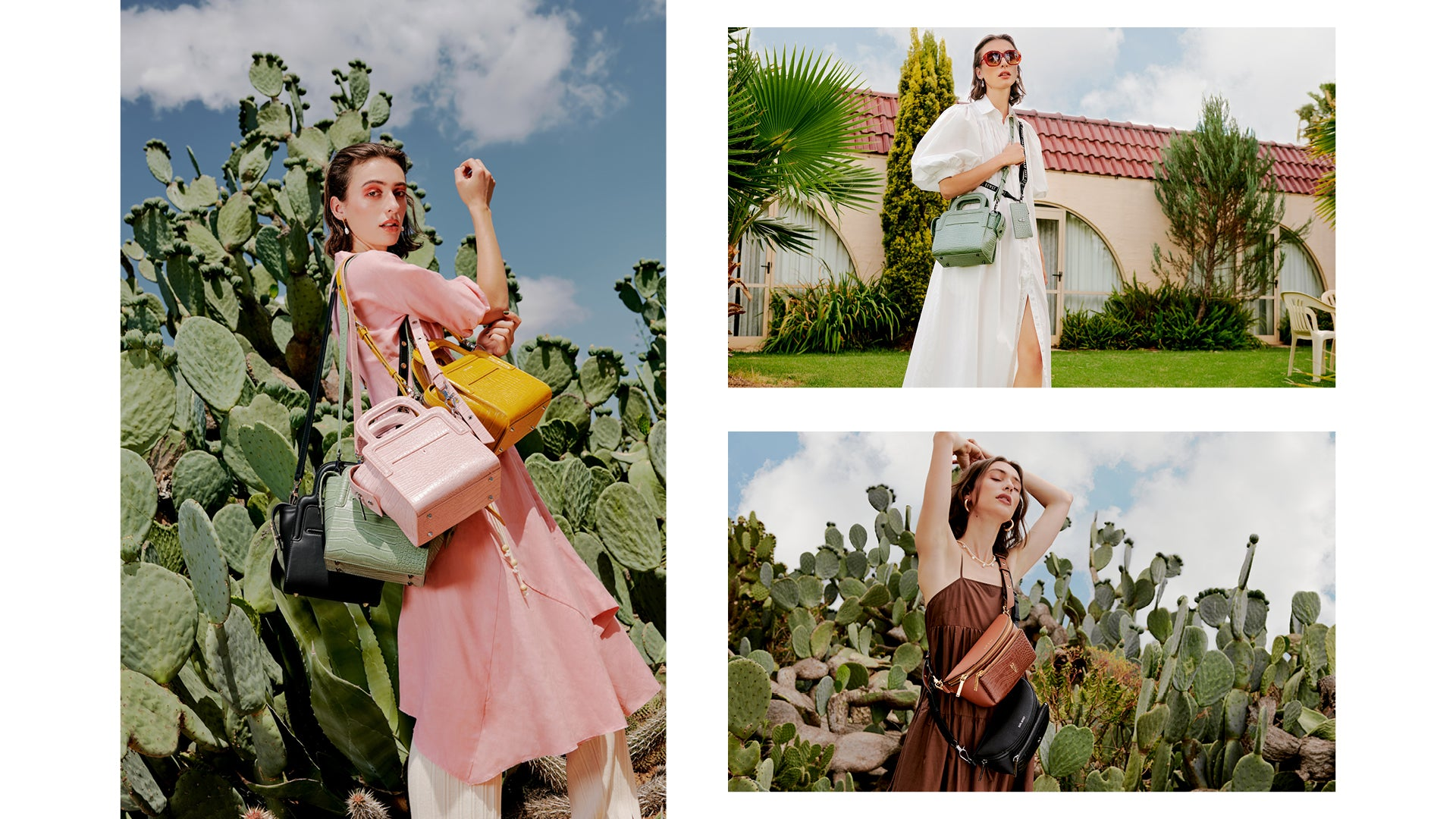 Collage from Series 7: The Long Lunch Tote in Sage, Ballerina, Mustard + Noir, The Bright Spark Belt Bag in Mahogany + Noir.