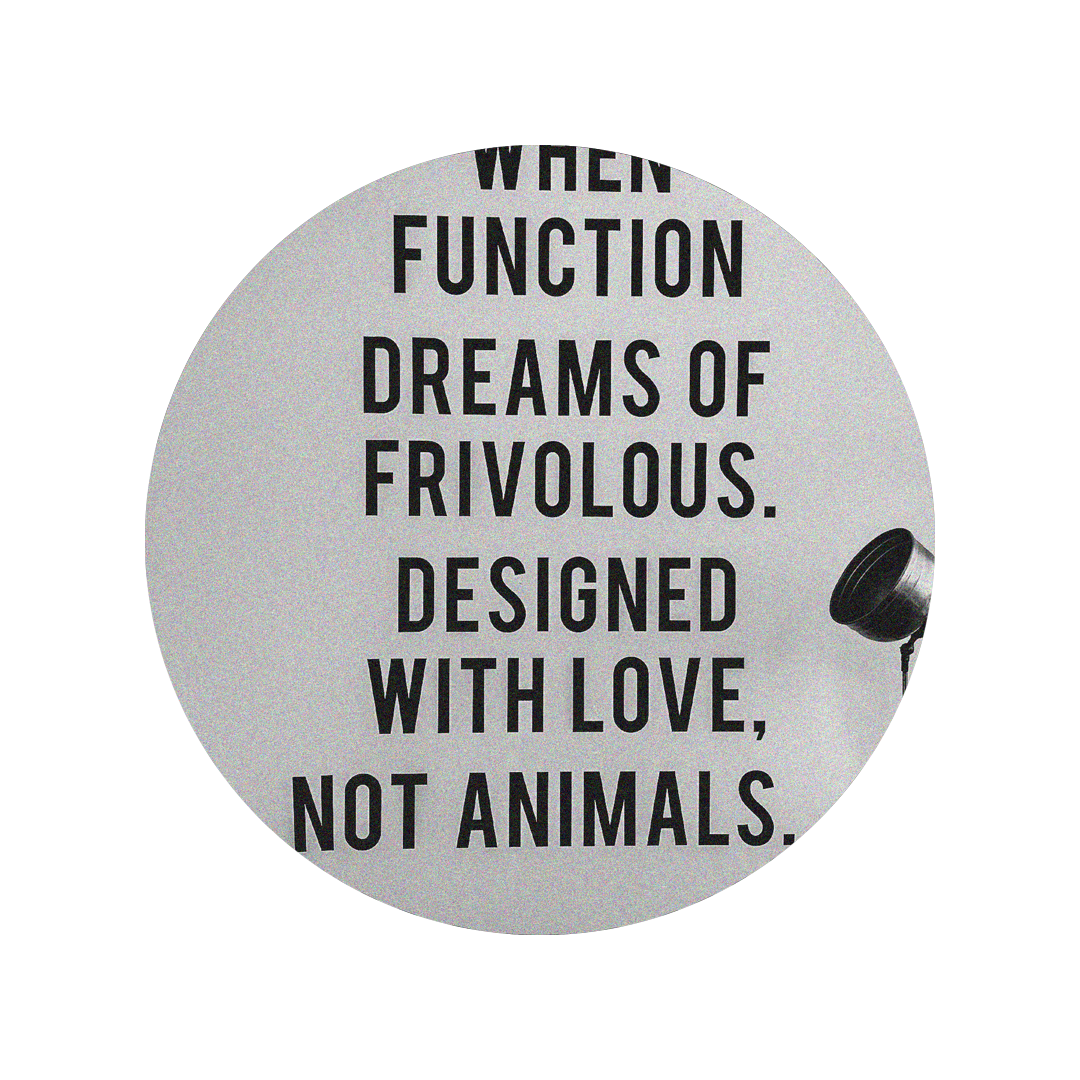 Photo of brand story decal on wall, it says When Function Dreams of Frivolous.  Designed with love, not animals.