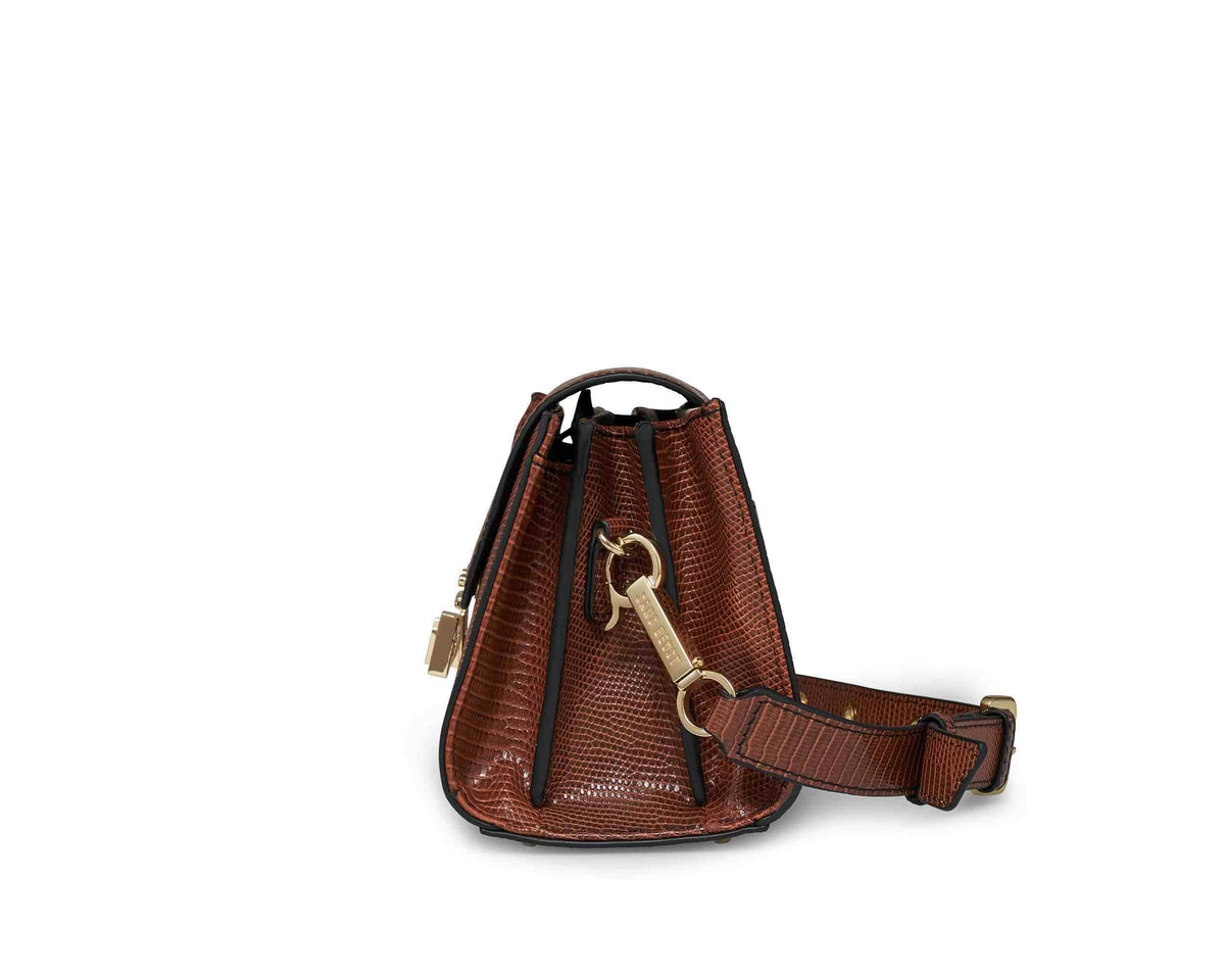 Sans Beast Chestnut Lizard Lobby Crossbody Side View