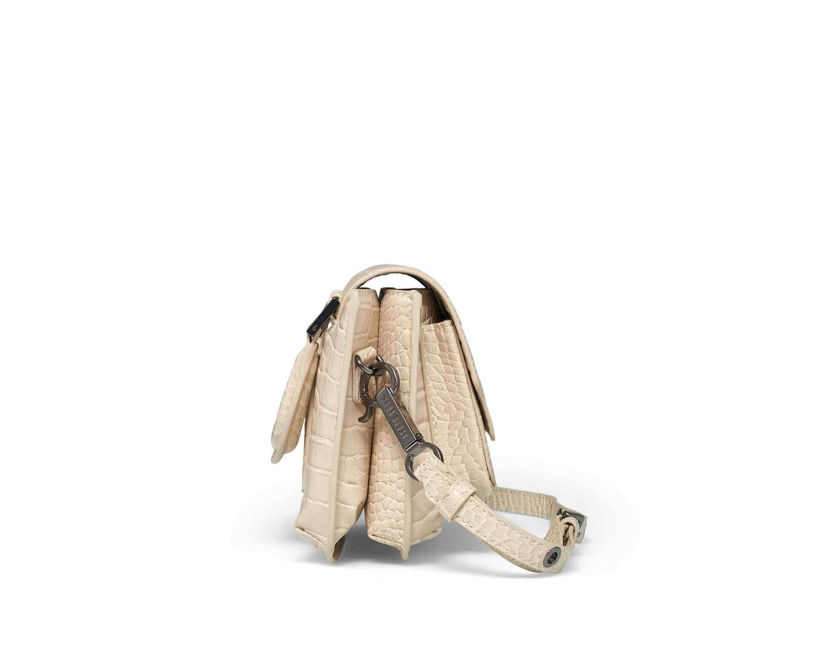 Sans Beast Vanilla Patent Croco Reader Satchel Side View