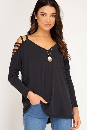Strappy Sleeve Top - Blush Boutique