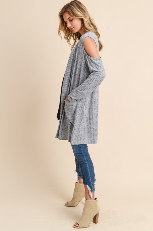 Cold Shoulder Cardigan - Blush Boutique