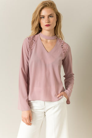 Lace and Button Back Detail Top - Blush Boutique