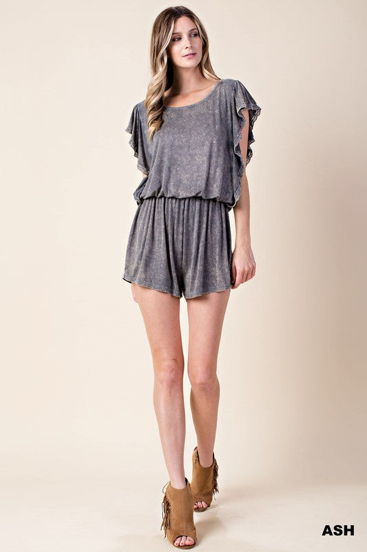 Mineral Washed Romper - Blush Boutique