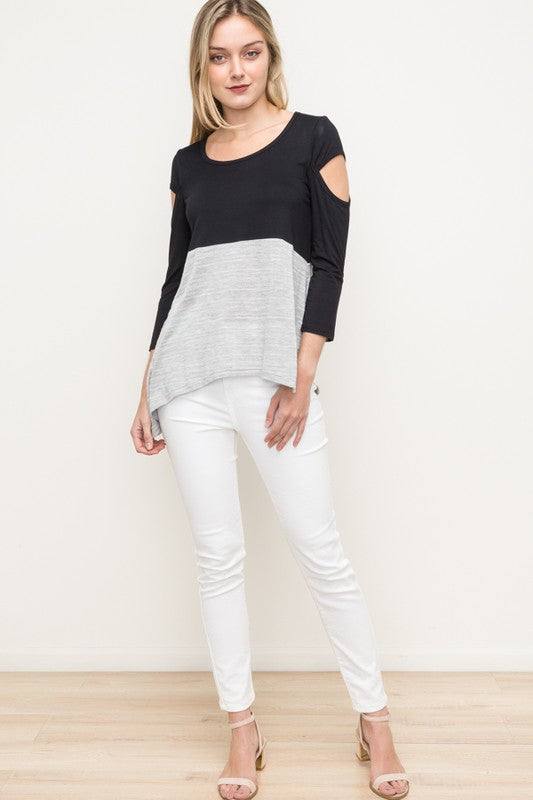 Peekaboo Sleeve Relaxed Top - Blush Boutique